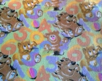 Nursery Baby Animals Numbers Flannel Fabric by the Yard