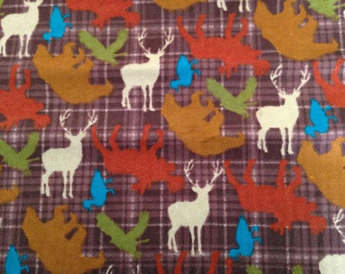 Plaid Wildlife Flannel Fabric by the Yard