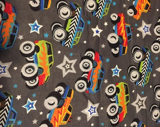 Monster Trucks Flannel Fabric by the Yard