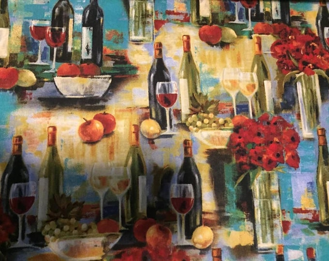 Wine Bottles Cotton Fabric by the Yard