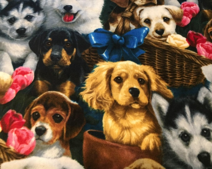 Puppy Collage Fleece Fabric by the Yard