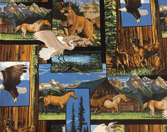 Wildlife Frame Collage Cotton Fabric by the Yard