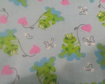 Nursery Frogs Flannel Fabric by the Yard