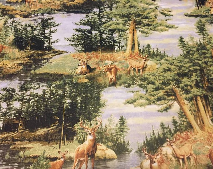Deer Cotton Fabric by the Yard