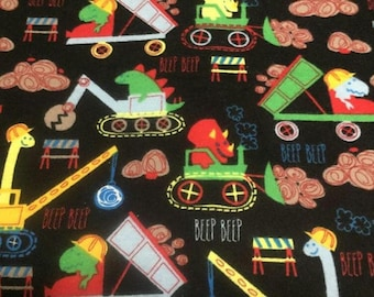 Dinosaur Construction Flannel Fabric by the Yard