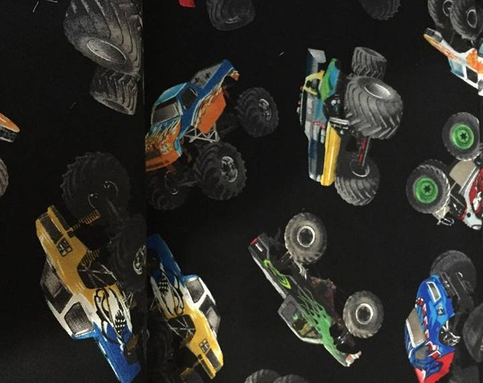 Monster Trucks Cotton Fabric by the Yard