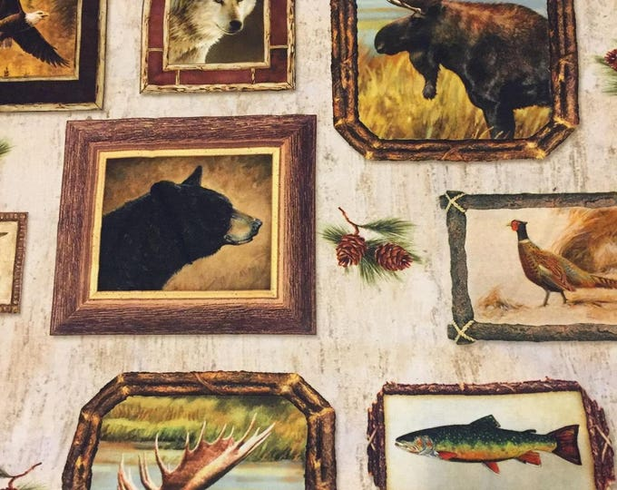 Wildlife in Frames Cotton Fabric by the Yard
