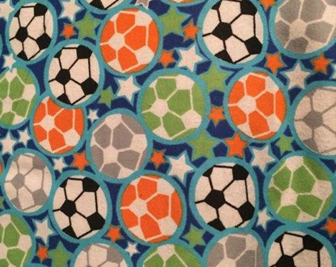 Soccer Flannel Fabric by the Yard