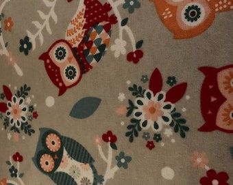 Owl Flannel Fabric by the Yard