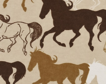 Free Running Horses Flannel Fabric by the Yard