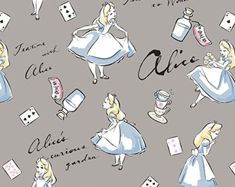 Alice in Wonderland Flannel Fabric by the Yard