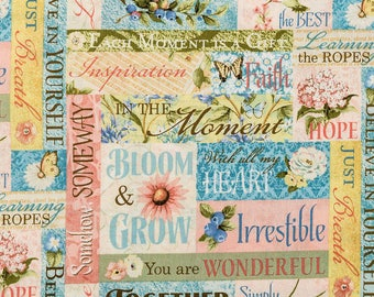 Inspirational Bloom and Grow Cotton Fabric by the Yard