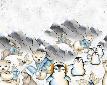 fleece knit penguin fabric fabric by the yard snow fabric christmas fabric penquin print winter fabric floral fabric organic fabric