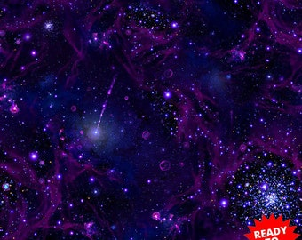 Space Stars Planets Silver Glitter Blue Cotton Fabric Traditions By The Yard