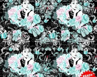 Audrey Hepburn fabric,  fabric,cotton fabric, Audrey Hepburn, floral fabric
