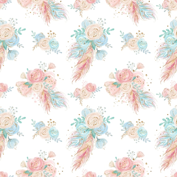 floral feathers boho fabric feather fabric cotton fabric floral fabric boho print cotton by the yard aztec knit fabric floral azec feather