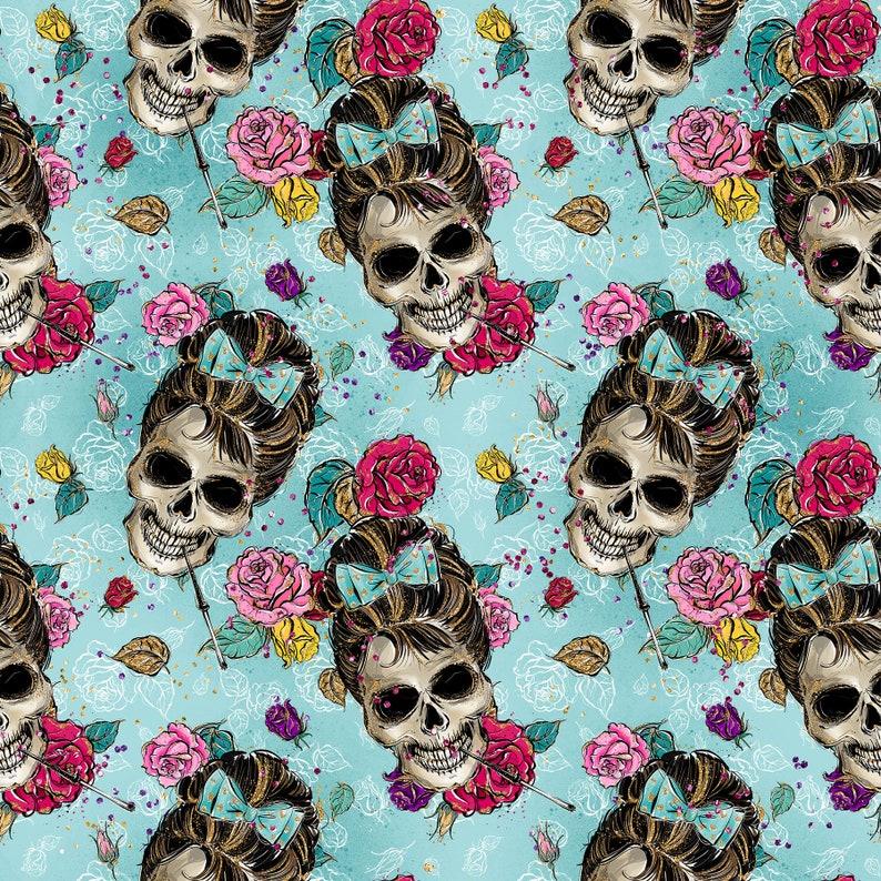 Mickey skull Audrey Hepburn fabric cotton by the yard knit by the yard Audrey Hepburn Hollywood skulls Halloween fabric Floral skulls