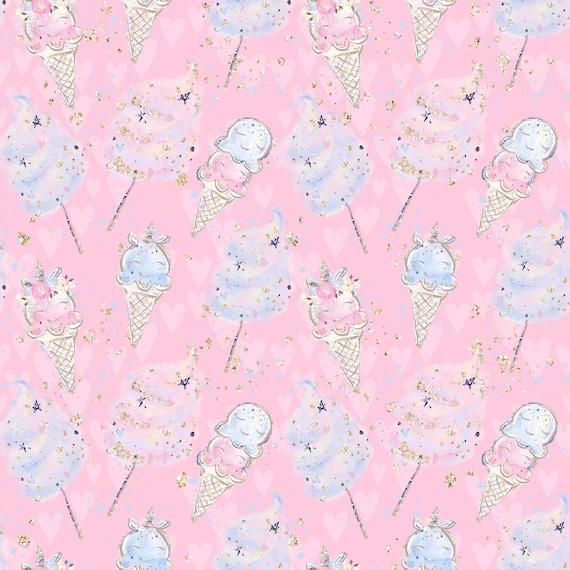 unicorn fabric fabric by the yard ice cream fabric knit candy fabric cotton fabric kids fabric quilting fabric dessert fabric food fabric