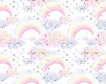 unicorn cloud fabric fabric by the yard rainbow fabric rainbow and cloud fabric cotton fabric children fabric quilting fabric dessert fabric
