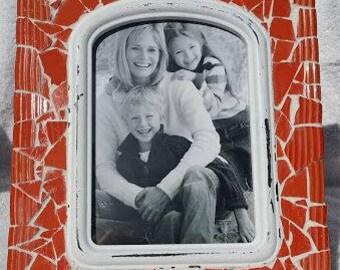 8x10 Orange Mosaic Photo Frame with 4.5x6.5 photo opening
