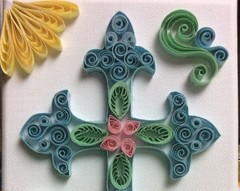 Quilling- Cross with Flowers
