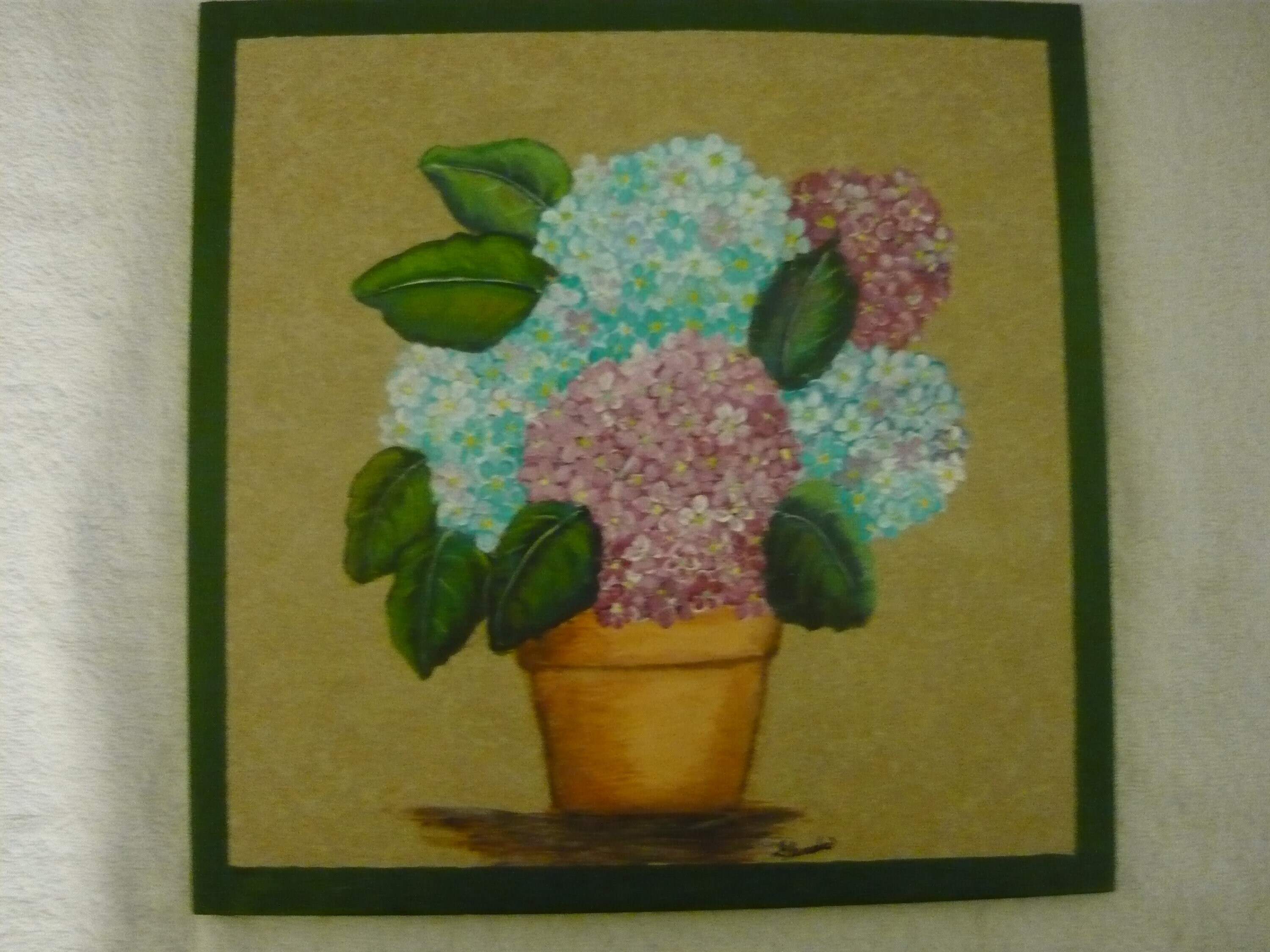 Hand Painted Ceramic X Tile With Blue And Pink Hydrangeas In Pot - 12x12 painted ceramic tile