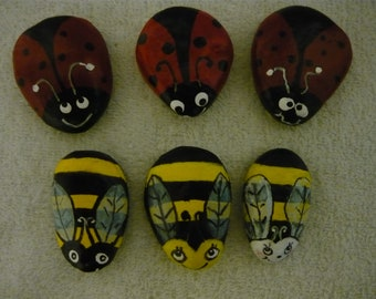 Three Little Lady Bugs And Three Little Bumble Bees