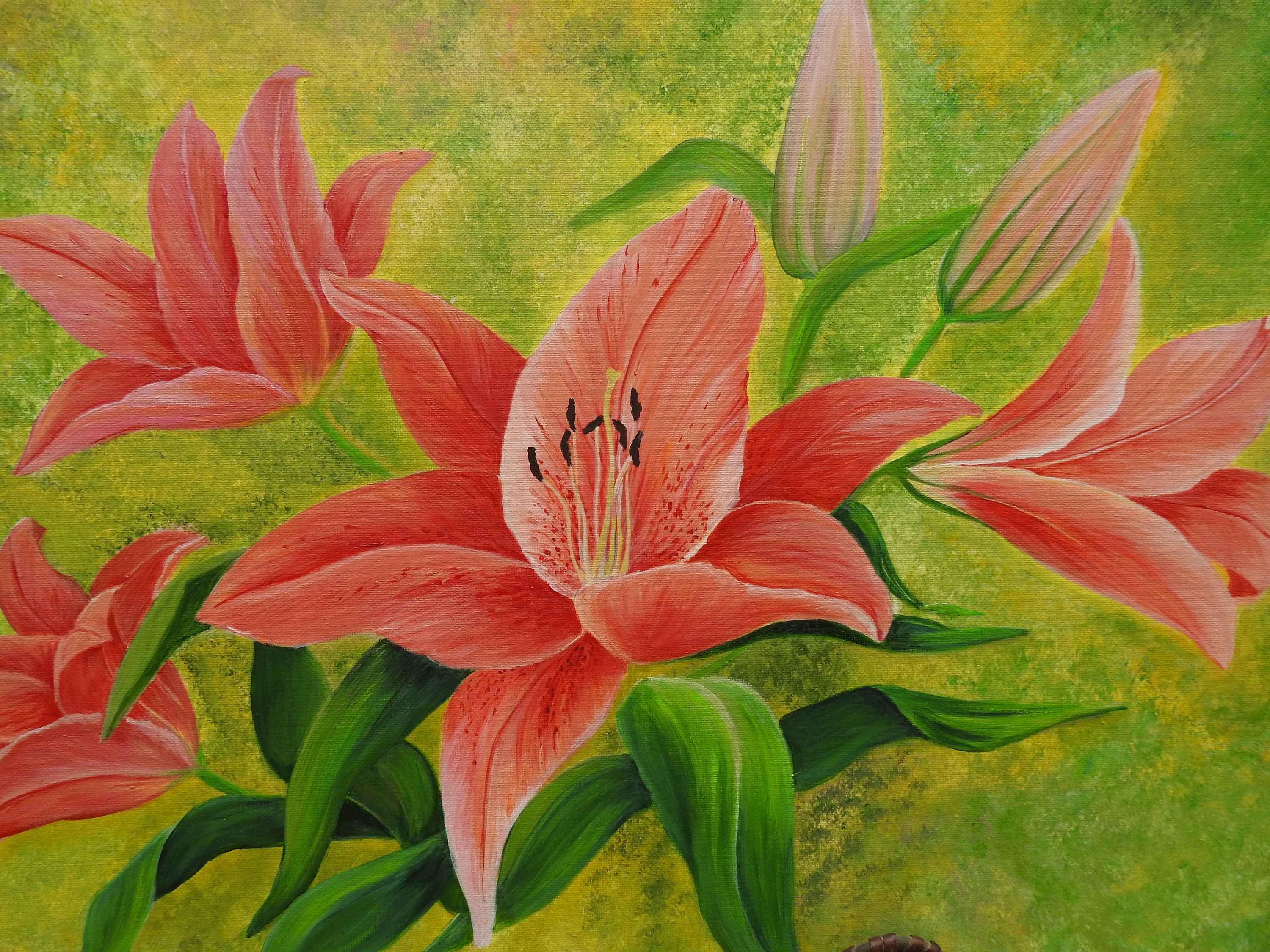 Stargazer Lilies Flowers Painting Lily Flowers Original Acrylic Painting On Canvas Lilies Painting