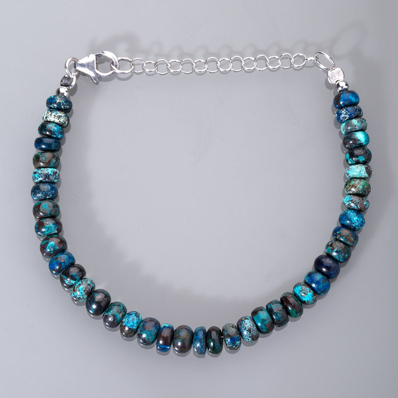 Chrysocolla Bracelet,Sterling silver Gemstone Beads Bracelet,Party Bracelet,Christmas gift for her,Chrysocolla adjustable silver bracelet.