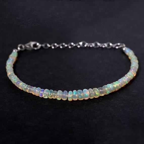Bracelet Ethiopian Opal Faceted Rondelle Sterling Silver Ready To Wear Bracelet Welo Opal Jewelry October Birthstone Sku#GIC10132