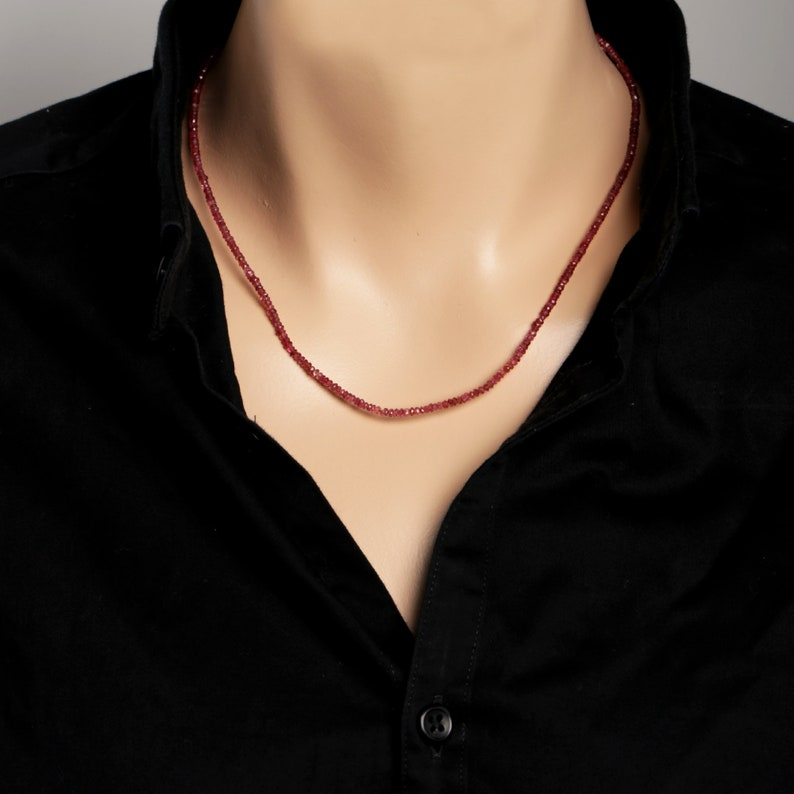 Red Spinel Micro Faceted Rondelle Necklace Semi Precious Gemstone Birthday Gift Surprise Gift