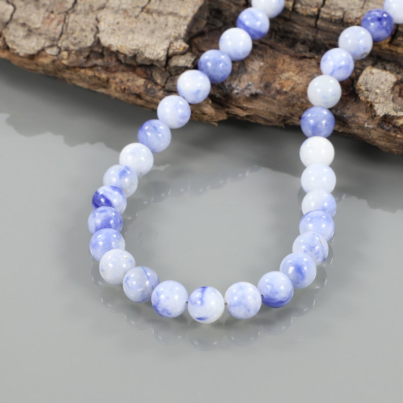 Natural Sodolite Necklace 925 Sterling Silver Smooth Round Necklace Sodolite Beads Necklace Beautiful Handmade Beaded Jewelry Christmas Gift