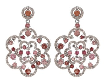 sterling silver earrings with AAA Quality tourmaline and white topaz wedding earrings.