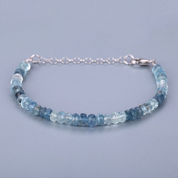 Aquamarine strand gemstone beads strand for jewelry making 10cm 7-9mm faceted rondelle beads