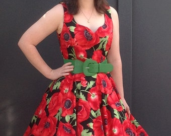 Dress, Retro Vintage 1950's Field of Poppies