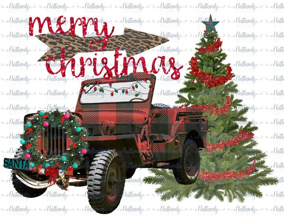 Christmas Jeep.Merry Christmas Jeep Sublimation Transfer