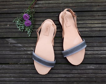 Leather summer sandals - Handmade - Grey/Beige - leather shoes - Flat sandals - Free shipping worldwide
