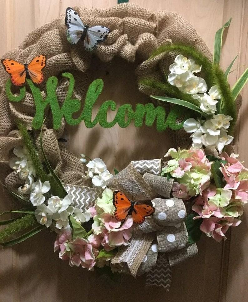 Butterflies At Play Wreath \u2022 Floral Wreath  \u2022 Welcome Wreath \u2022 Burlap Wreath \u2022 Spring Decor \u2022 Welcome Wreath \u2022 Custom Wreath \u2022 Bow