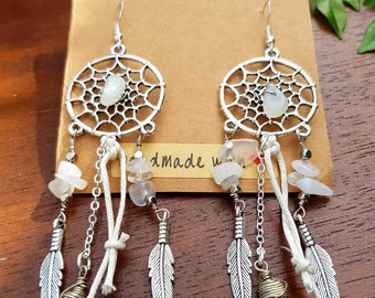 30440a0bf Silver Moonstone and Crystal Quartz Dangle Earrings. Dream catcher Earrings,  Moonstone dreamcatchers