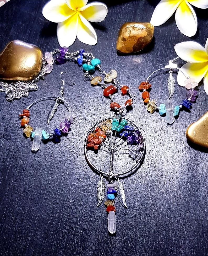 Chakra Tree of Life Wire Wrapped Necklace Quartz Point necklace Raw gemstone jewelry