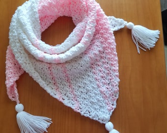 Triangle Shawl, Scarf, Wrap, Pink and White