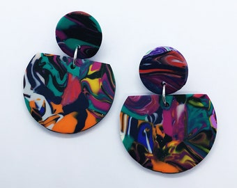 Multi Colour Large Marbled Drop Earrings / Polymer Clay Earrings / Statement Earrings