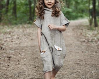 7dc80477584 Linen jumpsuit Girl s overall Harem pants Linen romper Hooded jumpsuit Girl  summer jumpsuit Natural kids clothing Short sleeve jumpsuits