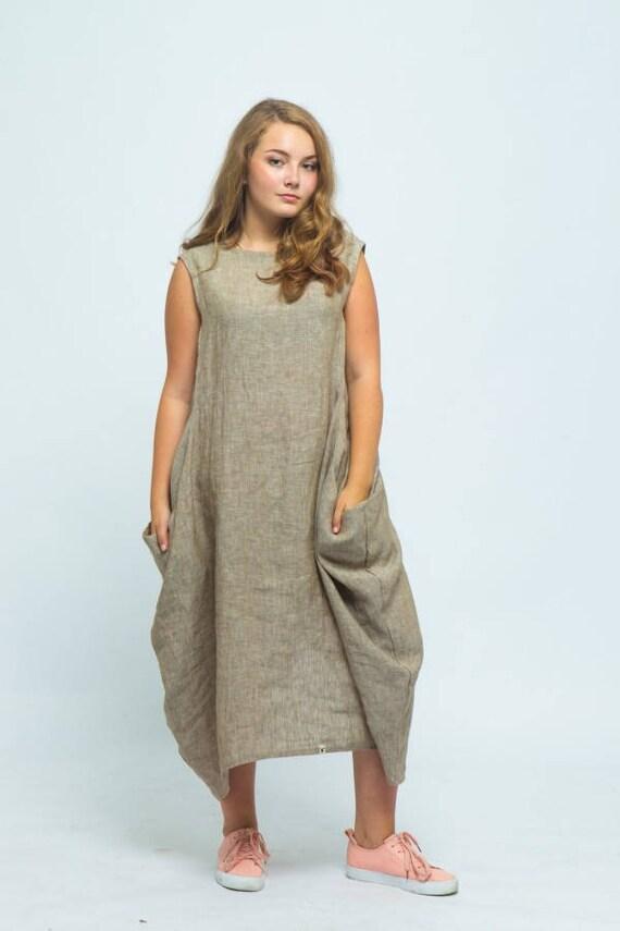 079178d33b Oversized linen dress Loose linen kaftan dress Linen maxi