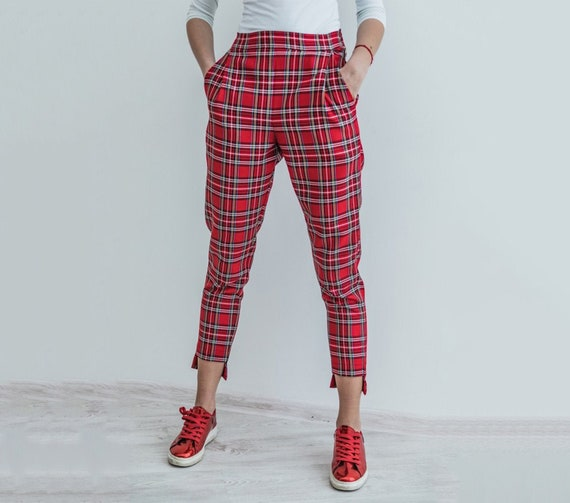 Checkered pants for women Scottish plaid pants Cropped pants | Etsy