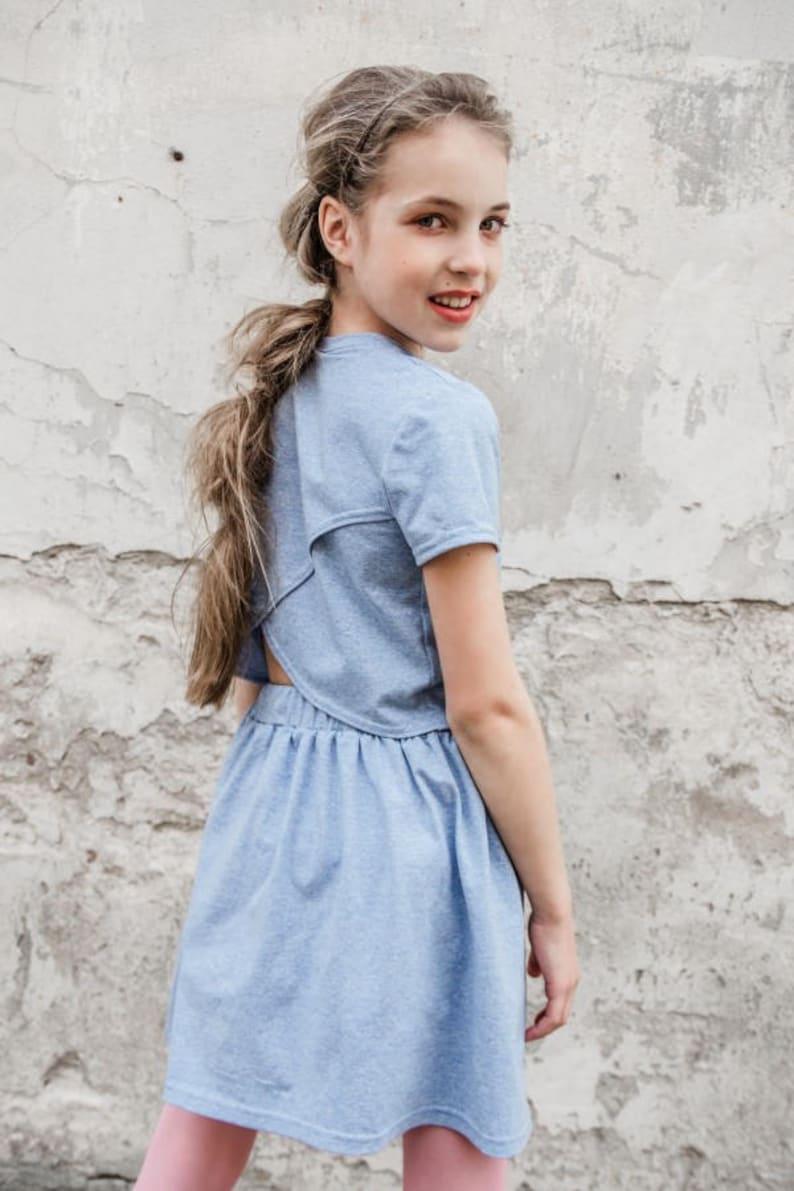 55de15f395f Girl skirt and blouse set Sky blue birthday set Junior girl | Etsy