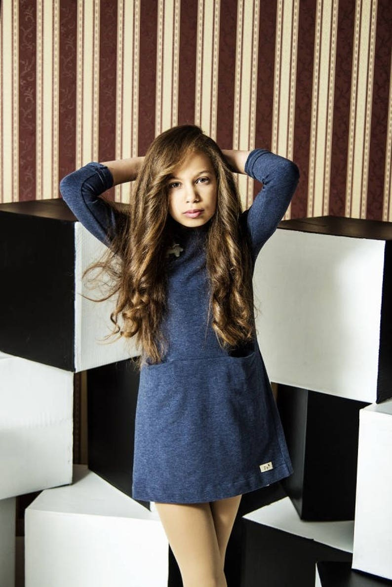 546b1703969 Girl soft blue dress Teens dress tunic Front pockets tunic | Etsy