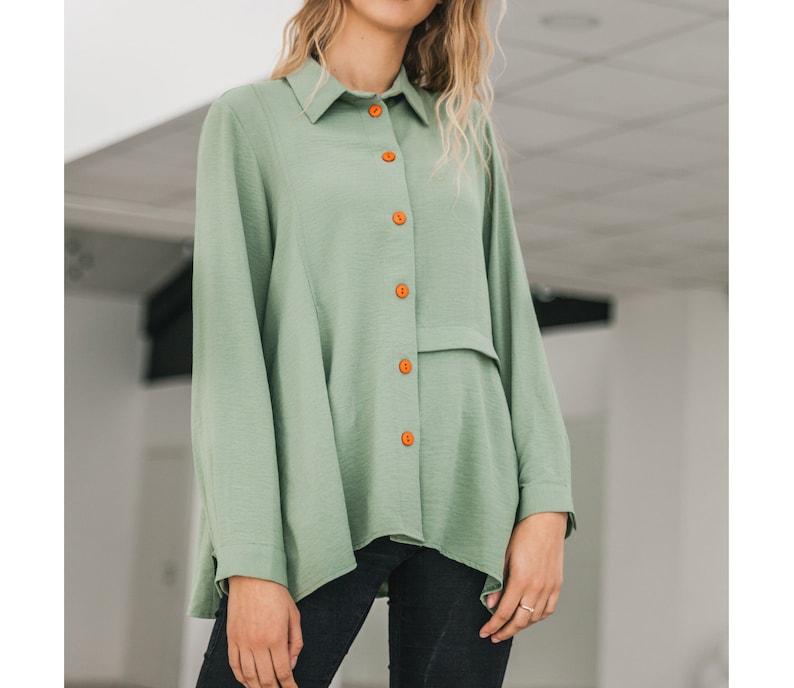 4ddab11bd049b Grüne Damen Shirt grün Knopf unten Shirt Langarm Shirt moderne | Etsy