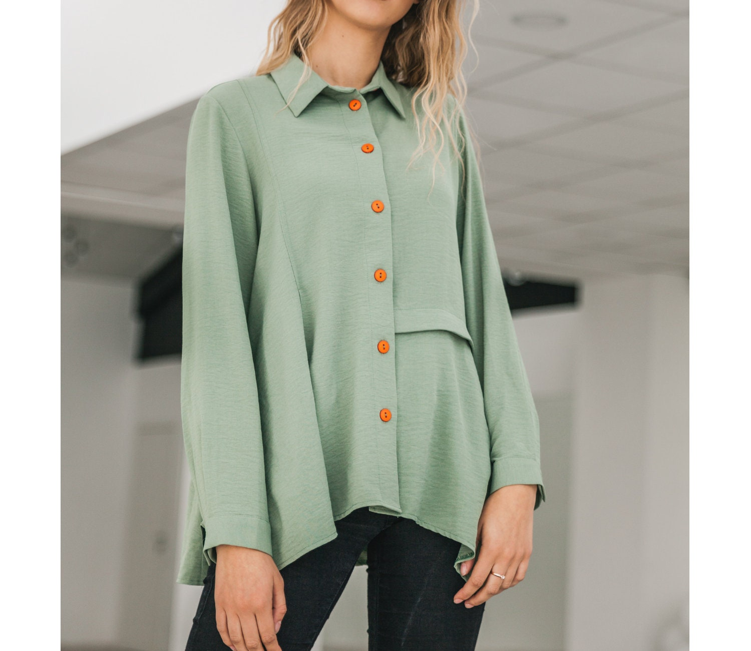 27f31114 Womens Button Down Long Sleeve Shirts – EDGE Engineering and ...