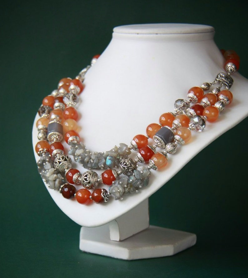 Carnelian necklace Orange statement necklace Chunky necklaces Boho necklace Bib necklaces Beaded necklaces Choker necklace Gift for her